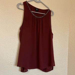 Mossimo Womens Embellished Sheer Tank DK Red XL